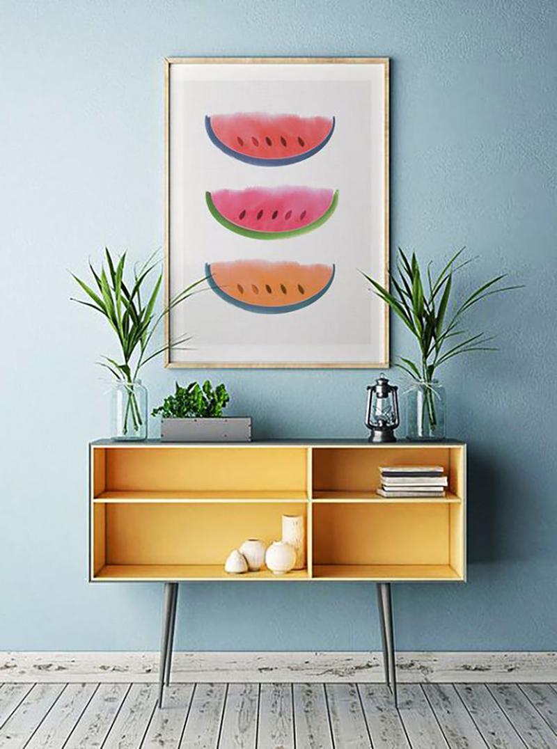 Egy jó kis dinnyés festmény egy színes falszakaszra ütős megoldás.