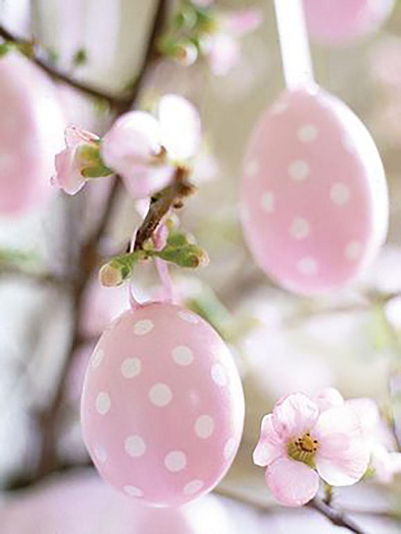 Rózsaszín-fehér pöttyös tojások lógatva virágzó tavaszi ágakról.