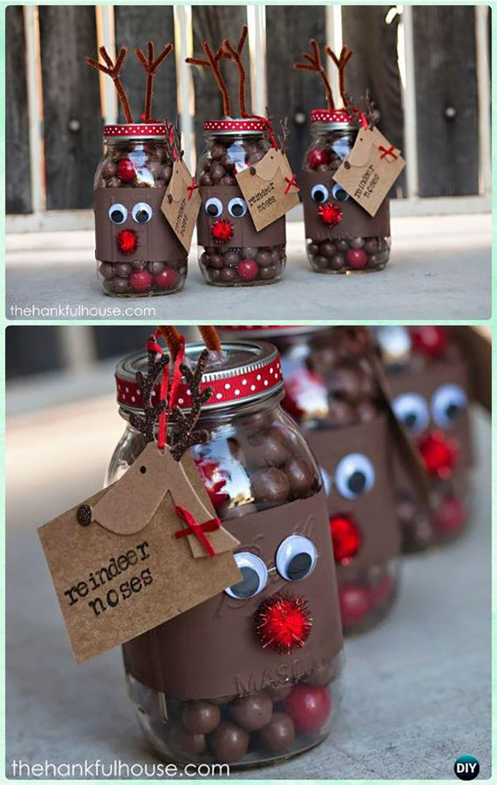 This one is lovely for both decoration and gift. Reindeer noses :-), alias choco balls in reindeer decorated jar.