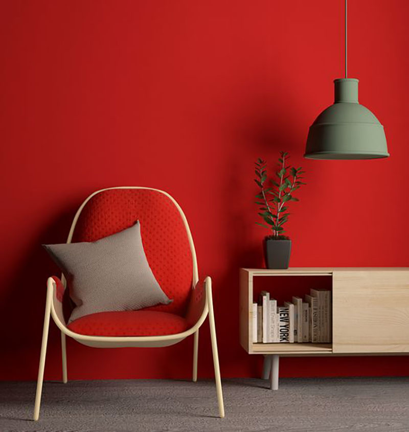 It is possible that red is too much in this room, either the wall or the chair should be a different color, but I still like it. What do you think?