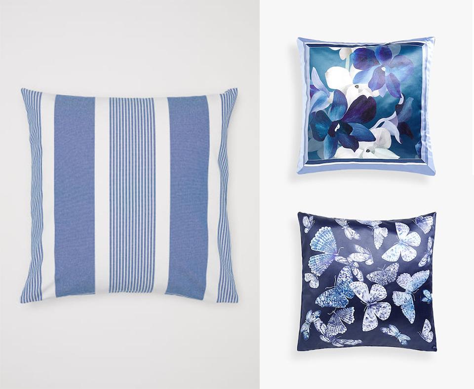 Végül pedig néhány kiegészítő: csíkos párna a H&M Home-ból, virágos és pillangós párna a Zara Home-tól.