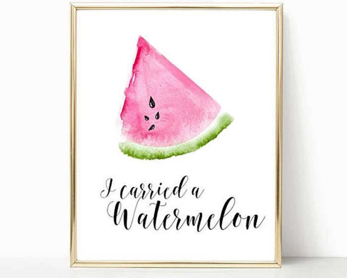 Szintén görögdinnyés kép, nagyon édes :-) és tök jó hozzá a vékony arany képkeret.