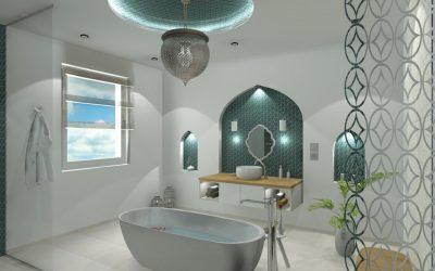 Modern fürdőszoba arab motivumokkal