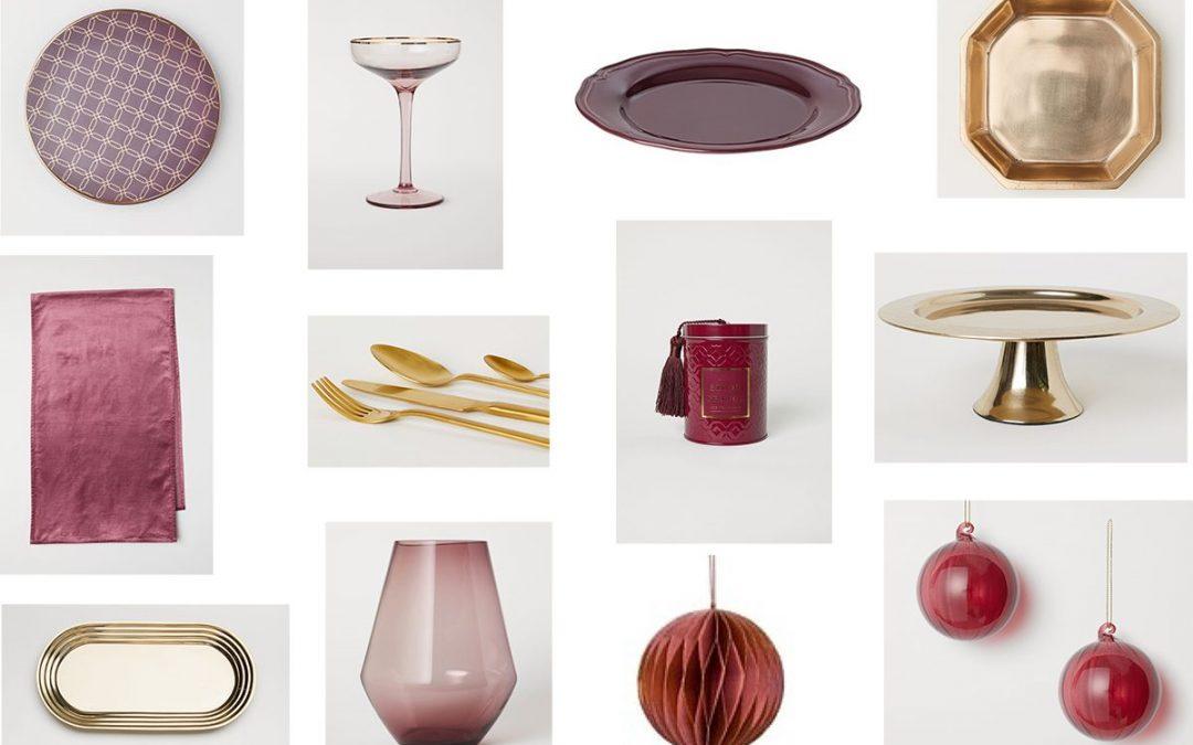 Karácsonyi teríték burgundi, szilva és arany színekben