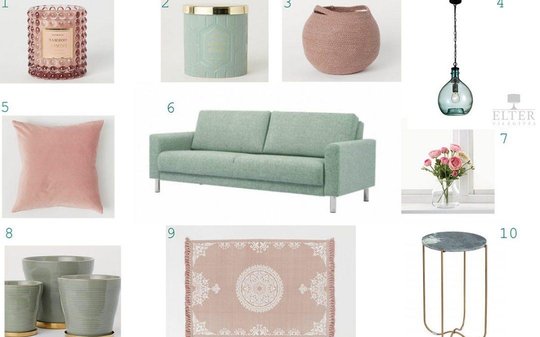 7+1 rózsaszín és zöld lakberendezési ötlet