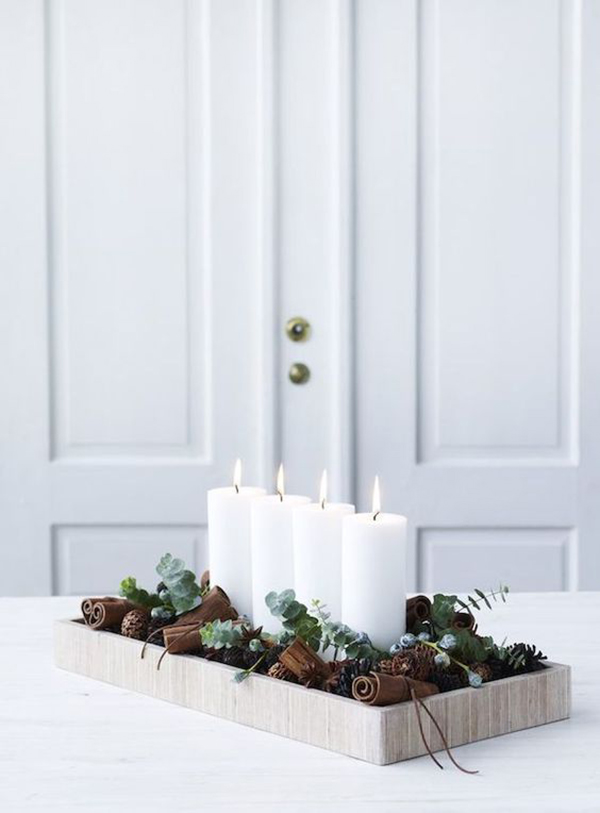 This is an option instead of advent wreath. 4 candles, cinnamon and some green branches are needed.