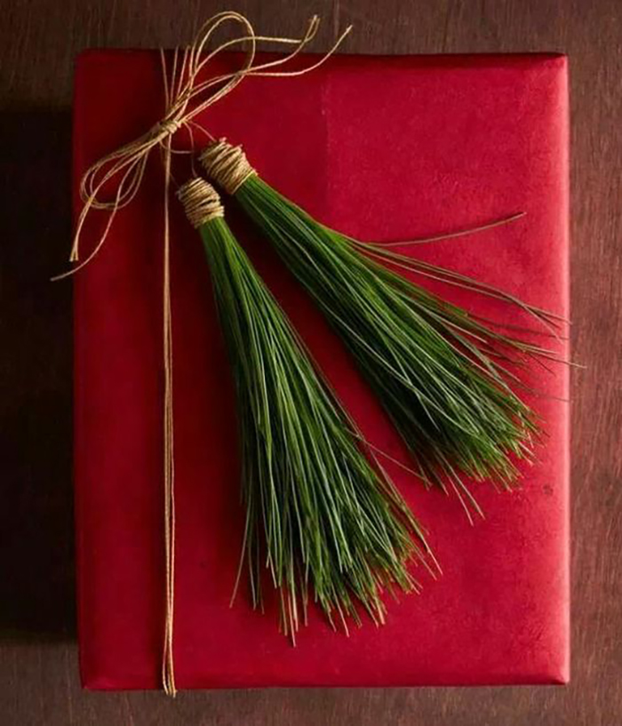 Red wrapping paper, which is spiced up with some pine branches, looks simple but it is beautiful altogether.