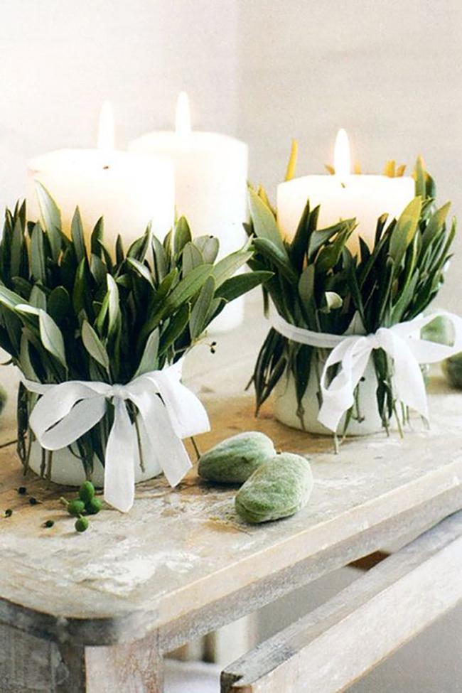 Bay leaf candle wraps.