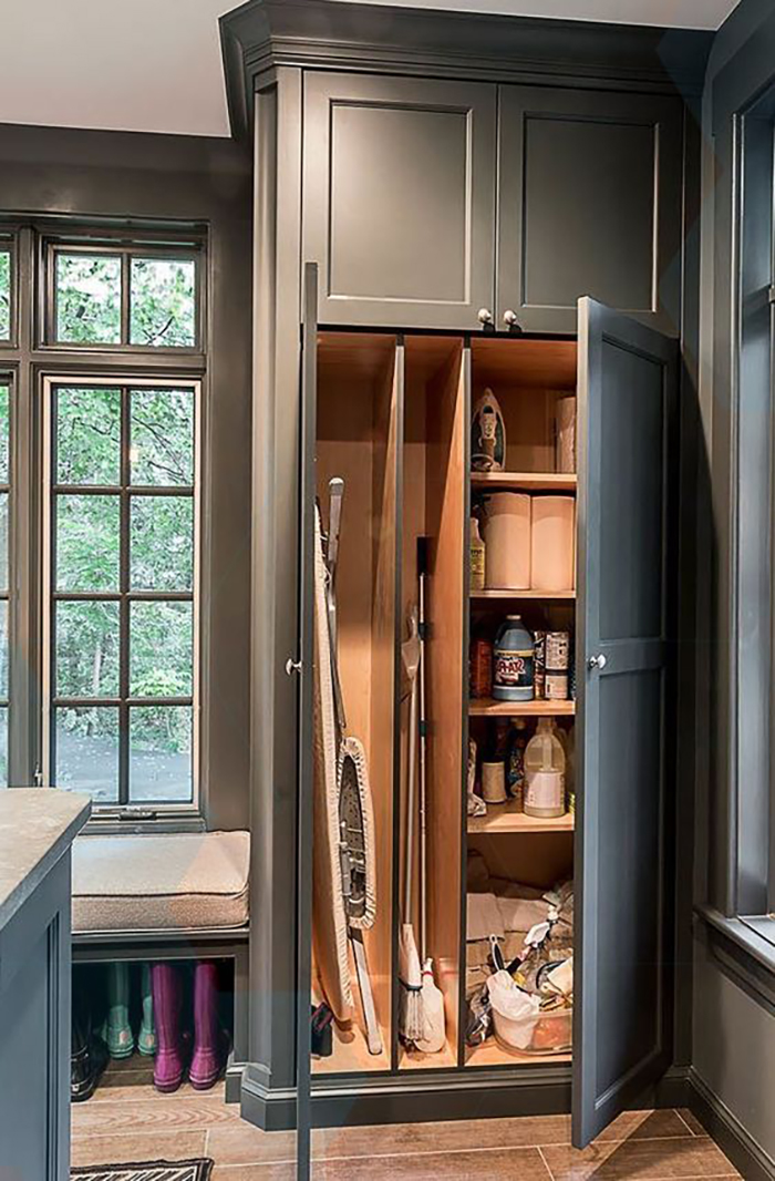 I like this one as there is place where you can put high items like ironing-board or a mop and there are the shelves for all the small things.