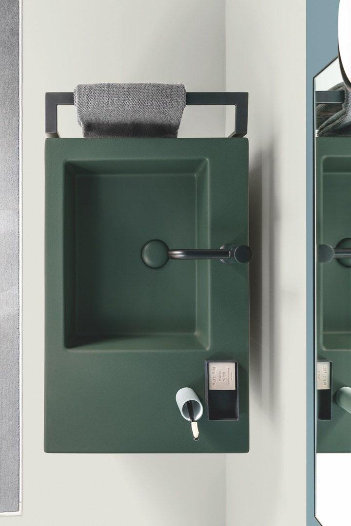 Zöld színű modern mosdókagyló.