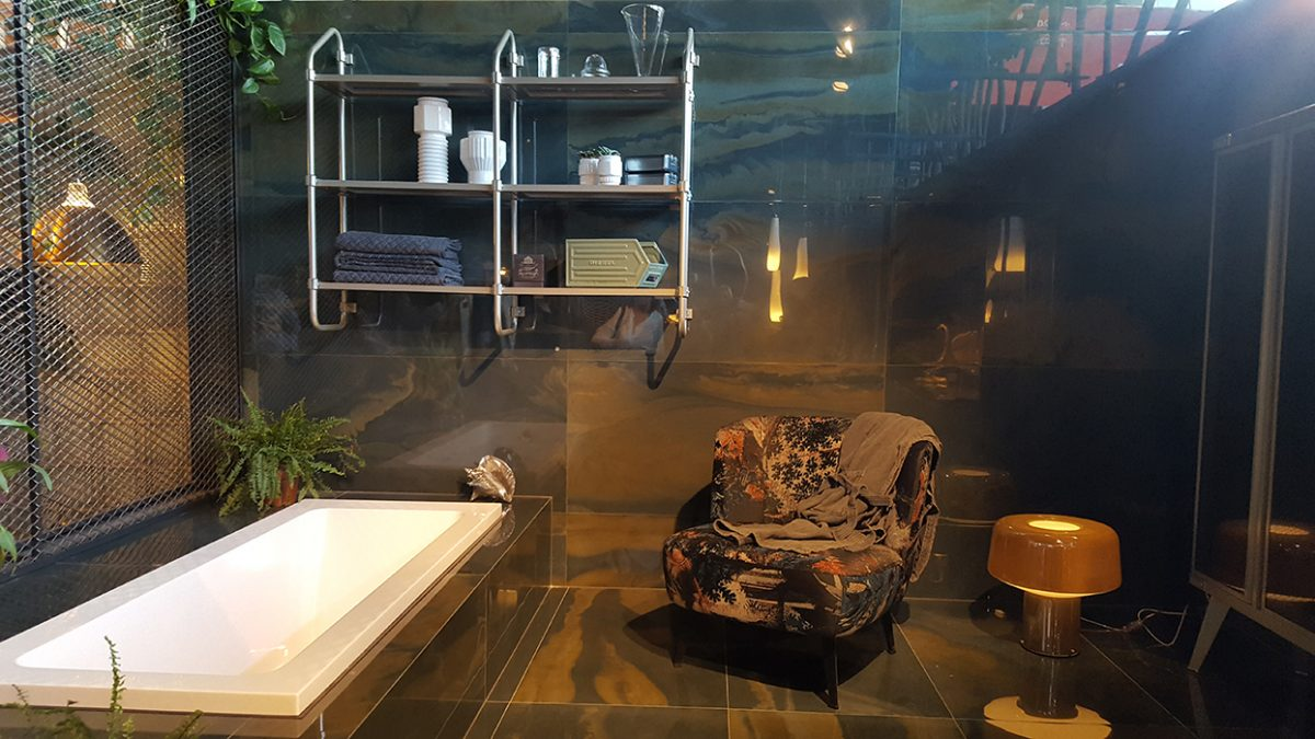 Diesel Living has really cool furniture, this is a bathroom designed by them.