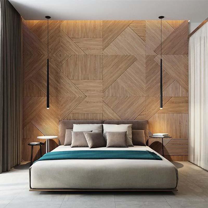 Világos, meleg színek és a fali panel különösen említésre méltó.