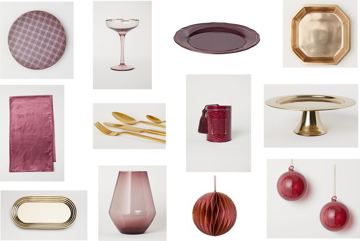 Moodboard in burgundy, plum and gold colors. Below you'll find the list of the stores.