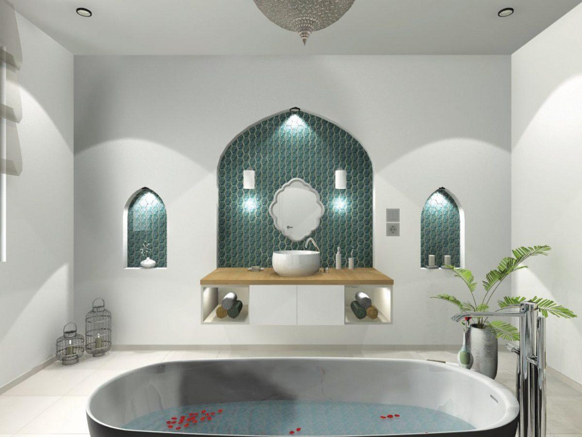 Szintén az én tervem ez a modern fürdőszoba némi marokkói fűszerezéssel.