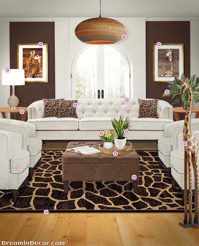 Zsiráfos kiegészítők a natúr és barna színű bútorok között és máris kész az egyedi nappali.