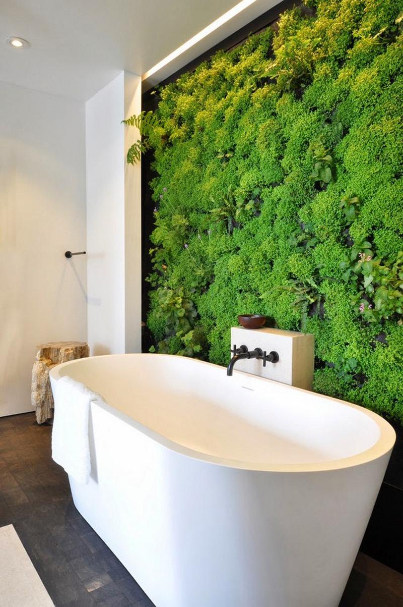 Élőnövény fal, egy oázis a fürdőszobában.