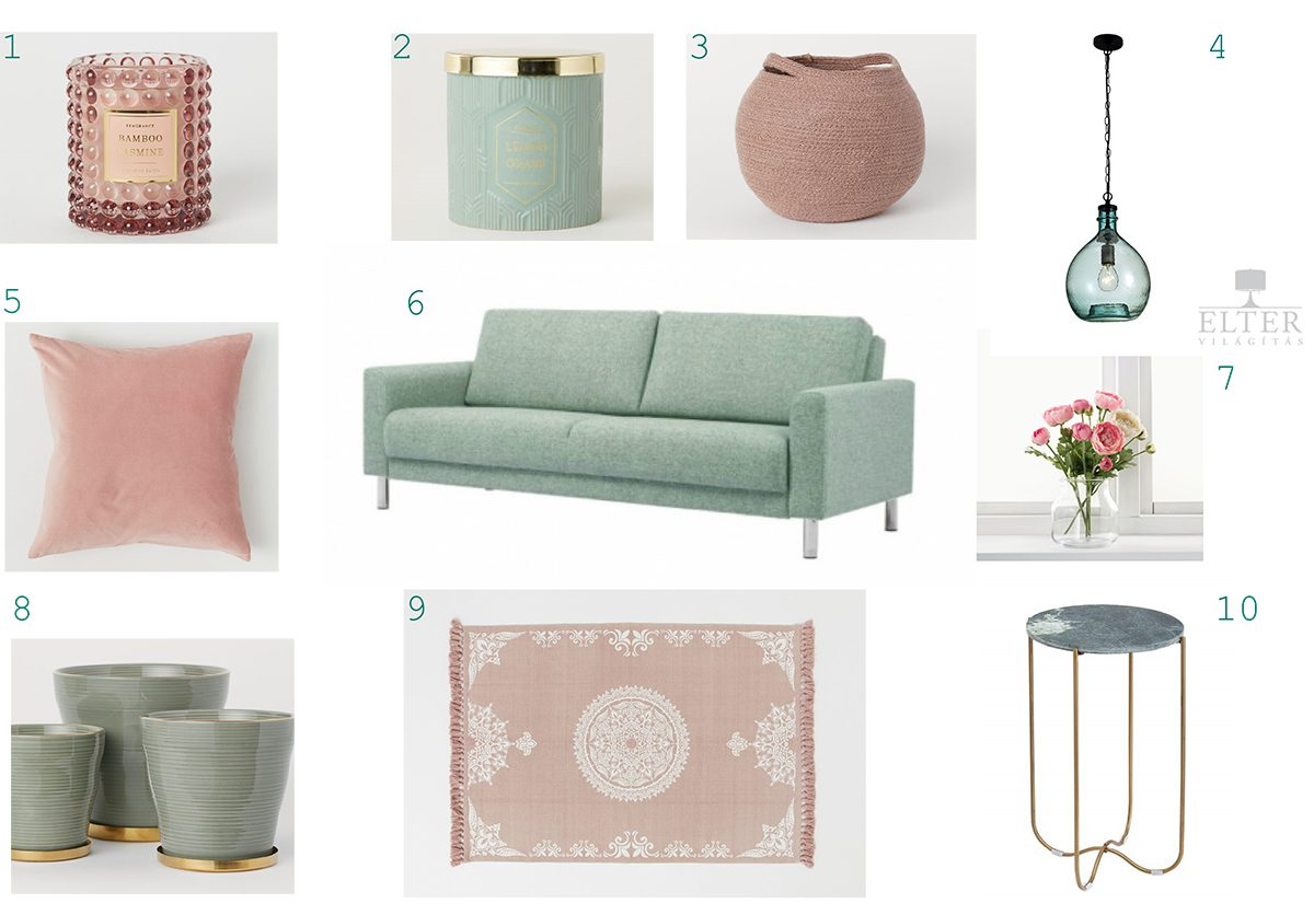1. Candle - H&M Home 2. Candle - H&M Home 3. Storage basket - H&M Home 4. Nova Luce Naples lamp - Elter  5. Cushion- H&M Home 6. Cleveland sofa – ID Design 7. Smycka artificial flower - IKEA  8. Ceramic plant pots - H&M Home 9. Cotton rug - H&M Home 10. Noble green marble bedside table – Dodo Home
