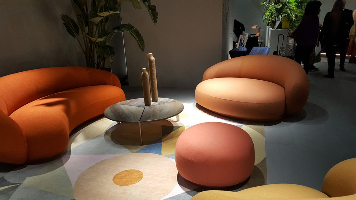 When terra cotta and coral colors meet at Tacchini.